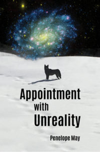 Book cover: a dog on a snowy field with a galaxy behind.